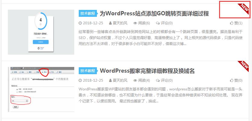 图片[2]-大前端DUX主题美化小技巧 在首页为当前24小时内更新的文章添加NEW图标-蓝米兔博客