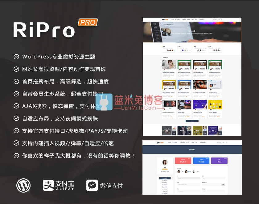 Wordpress主题 RiPro 5.4破解版新增免登录支付和子主题免SG11